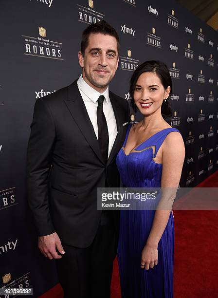 NFL player Aaron Rodgers and actress Olivia Munn attend 4th Annual NFL Honors at Phoenix Convention Center on January 31 2015 in Phoenix Arizona