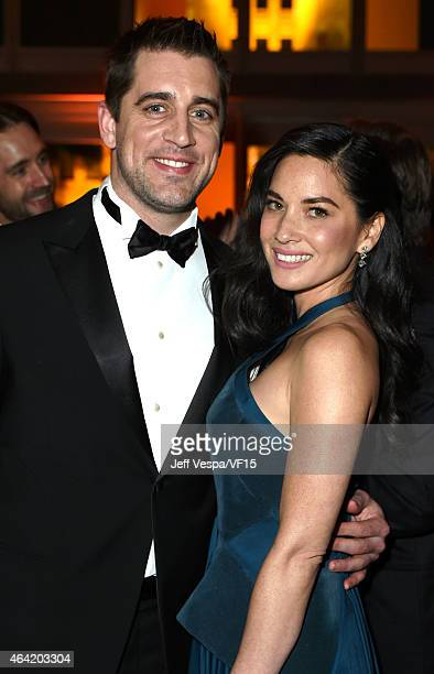 NFL player Aaron Rodgers and actress Olivia Munn attend the 2015 Vanity Fair Oscar Party hosted by Graydon Carter at the Wallis Annenberg Center for...