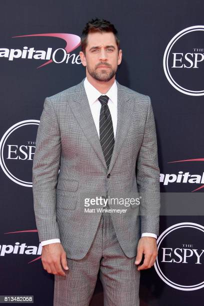NFL player Aaron Rodgers attends The 2017 ESPYS at Microsoft Theater on July 12 2017 in Los Angeles California