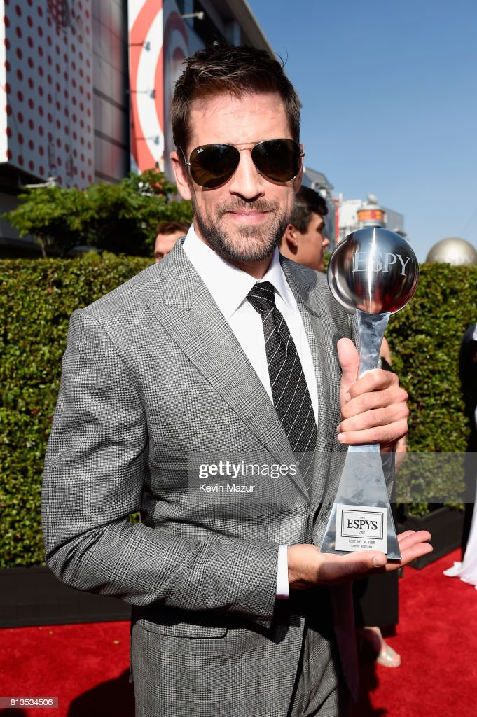 NFL player Aaron Rodgers, winner of the Best NFL Player award, attends The 2017 ESPYS at Microsoft Theater on July 12, 2017 in Los Angeles, California.