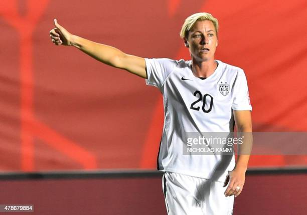 US player Abby Wambach gestures after their win over China in the 2015 FIFA Women's World Cup quarterfinal match at Lansdowne Stadium in Ottawa...