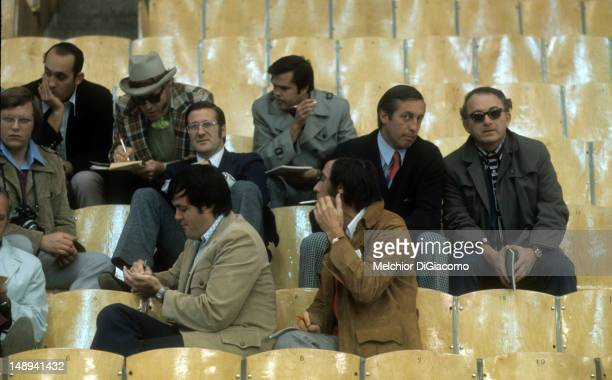 Player agent Alan Eagleson and Jean Beliveau in the second row look on during practice of the 1972 Summit Series in September 1972 at the Luzhniki...