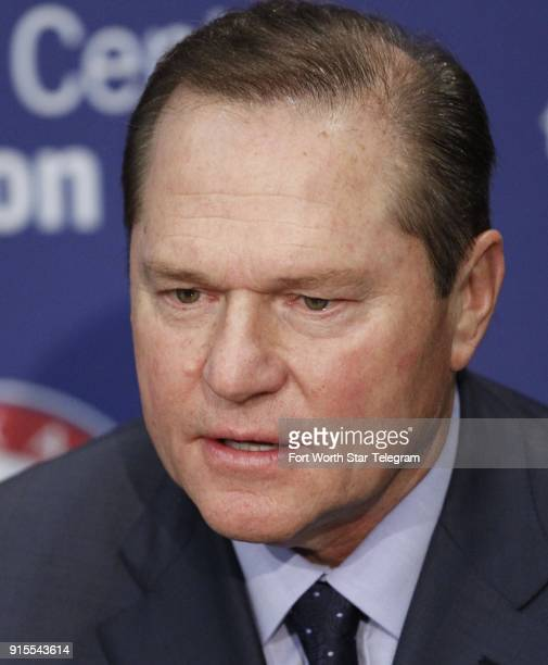 Player agent Scott Boras talks with the media as the Texas Rangers introduced a free agent signing at Rangers Ballpark in Arlington on December 27 in...