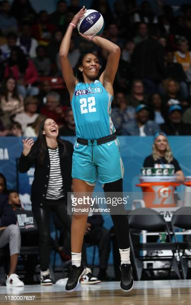 WNBA player A'ja Wilson takes a shot during the 2019 NBA AllStar Celebrity Game at Bojangles Coliseum on February 15 2019 in Charlotte North Carolina