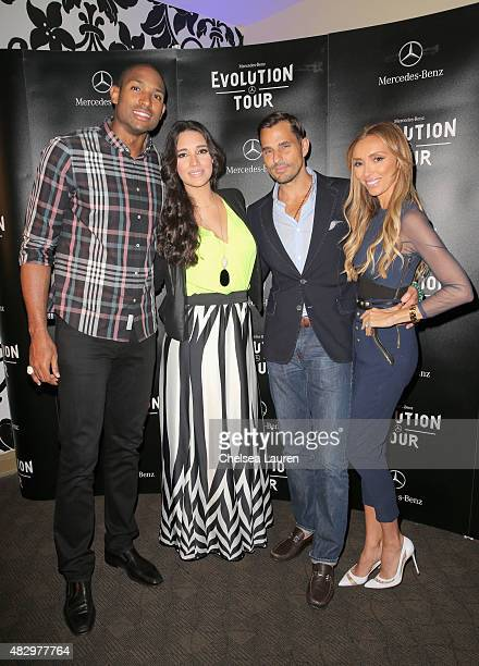 NBA player Al Horford actress Amelia Vega tv personalities Bill Rancic and Giuliana Rancic attend the MercedesBenz 2015 Evolution Tour on August 4...