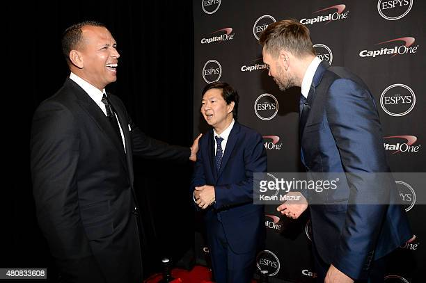 MLB player Alex Rodriguez actor Ken Jeong with host Joel McHale at The 2015 ESPYS at Microsoft Theater on July 15 2015 in Los Angeles California