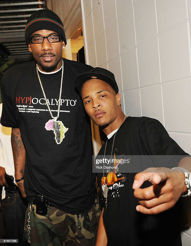Player Amar'e Stoudemire (Phoenix Suns) and Rapper T.I. backstage at T.I.'s Final Countdown Concert at Philips Arena on May 24, 2009 in Atlanta, Georgia.