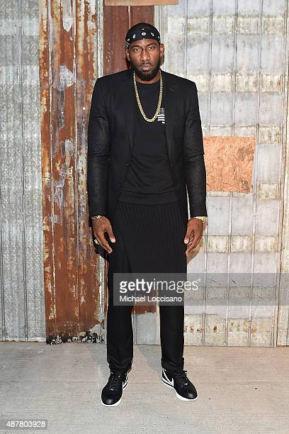 NBA player Amar'e Stoudemire attends the Givenchy fashion show during Spring 2016 New York Fashion Week at Pier 26 at Hudson River Park on September...