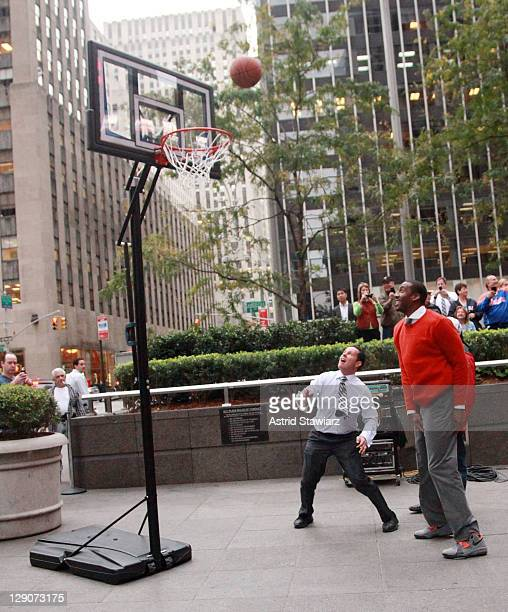 NBA player Amar'e Stoudemire of the New York Knicks and Fox Friends host Brian Kilmeade play a basketball game during a taping of FOX Friends at FOX...