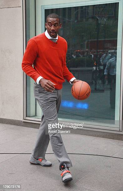 NBA player Amar'e Stoudemire of the New York Knicks plays basketball during a taping of 'FOX Friends' at FOX Studios on October 12 2011 in New York...