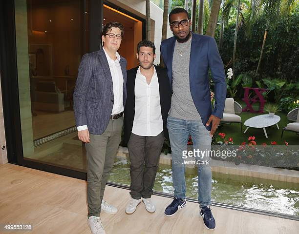 Player Amar'e Stoudemire poses with Surface Magazine Editor In Chief Spencer Bailey and CEO Marc Lotenburg during the Surface Magazine Luncheon at a...