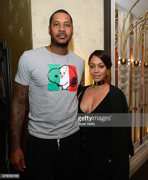 NBA player and 2016 USA Basketball Men's National Team member Carmelo Anthony and radio/television personality La La Anthony celebrate Team USA at...