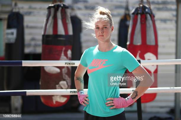 AFLW player and Boxer Tayla Harris poses during a portrait session at Coporate Box on November 2 2018 in Brisbane Australia Harris has an upcoming...