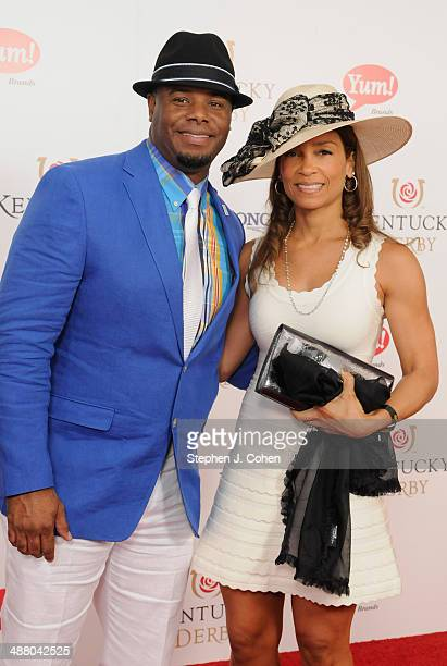 MLB player and Ken Griffey Jr Melissa Griffey attend 140th Kentucky Derby at Churchill Downs on May 3 2014 in Louisville Kentucky