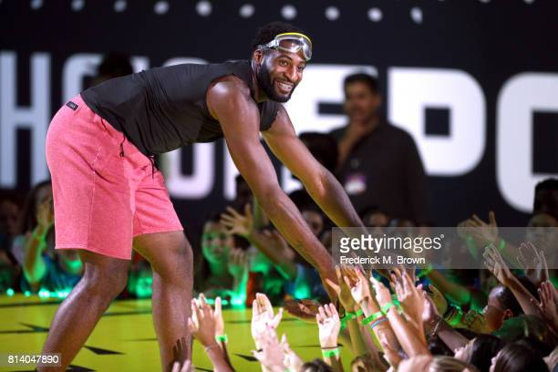 NBA player Andre Drummond greets crowd onstage during Nickelodeon Kids' Choice Sports Awards 2017 at Pauley Pavilion on July 13 2017 in Los Angeles...