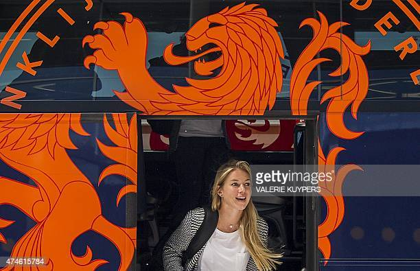 Player Anouk Hoogendijk of the Dutch national women soccer team leaves the bus at Schiphol Airport on May 24 2015 prior to their departure to Canada...