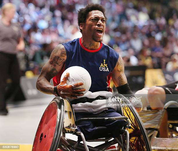 USA player Anthony McDaniel yells as he scores a goal during the gold medal wheelchair rugby gold medal match against Denmark at the Invictus Games...