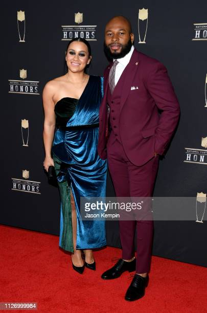 NFL player Antoine Bethea and Samantha Romantini attend the 8th Annual NFL Honors at The Fox Theatre on February 02 2019 in Atlanta Georgia