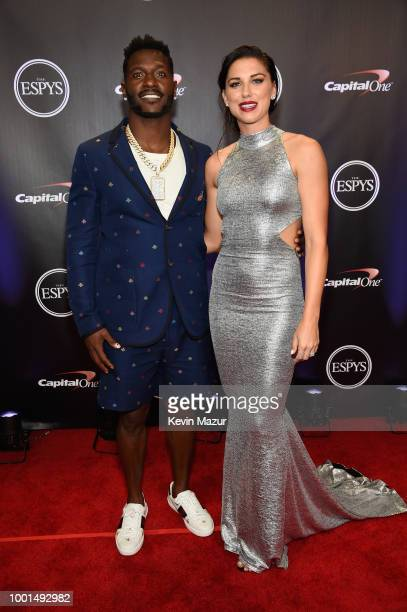 NFL player Antonio Brown and soccer player Alex Morgan attend The 2018 ESPYS at Microsoft Theater on July 18 2018 in Los Angeles California