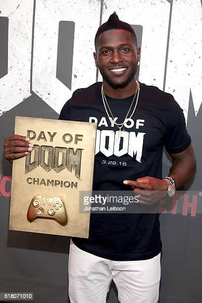 NFL player Antonio Brown attends as athletes and YouTube stars team for DOOM Videogame Tournament at Siren Studios on March 29 2016 in Hollywood...