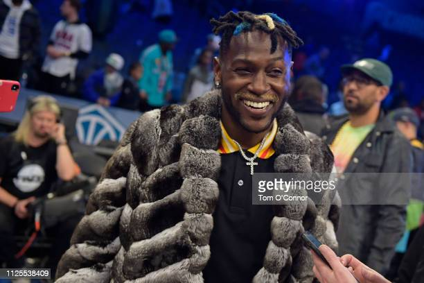 NFL player Antonio Brown smiles and laughs during the 2019 NBA AllStar Game on February 17 2019 at Spectrum Center in Charlotte North Carolina NOTE...