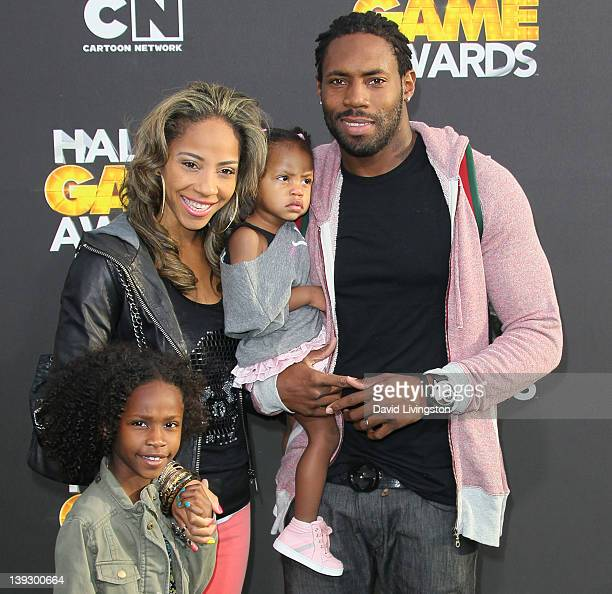 NFL player Antonio Cromartie and family attend the 2nd Annual Cartoon Network Hall of Game Awards at Barker Hangar on February 18 2012 in Santa...