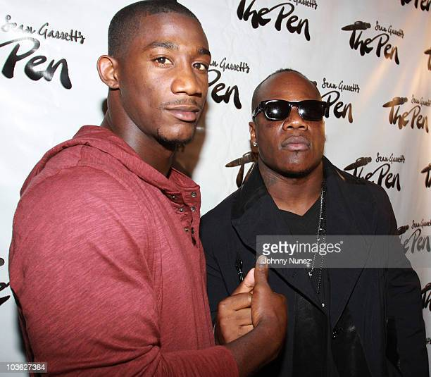 """Player Antrel Rolle and singer-songwriter Sean Garrett attend Sean Garrett's """"The Inkwell"""" MixTape Launch Party at Lucky Strike on August 24, 2010 in..."""