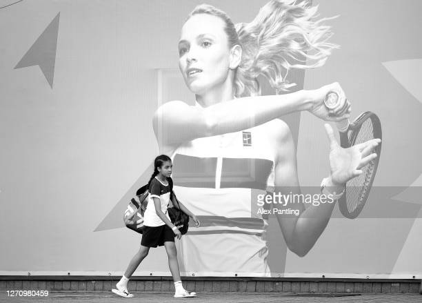 Player arrives during qualifying for the 2020 Fred Perry Championships at Nottingham Tennis Centre on September 05, 2020 in Nottingham, England.