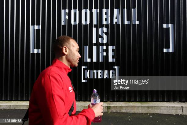 A player arrives prior to the Vanarama National League match between Salford City and Dover Athletic at Peninsula Stadium on February 16 2019 in...
