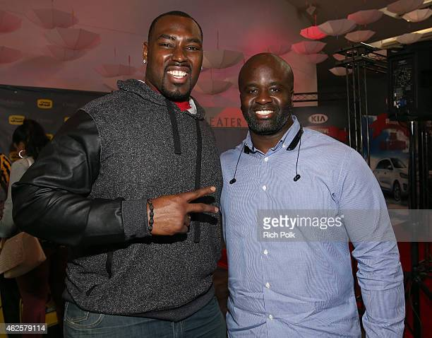 NFL player Arthur Jones and Omar Sillah attend the Kia Luxury Lounge presented by ZIRH at the Scottsdale Center for Performing Arts on January 31...
