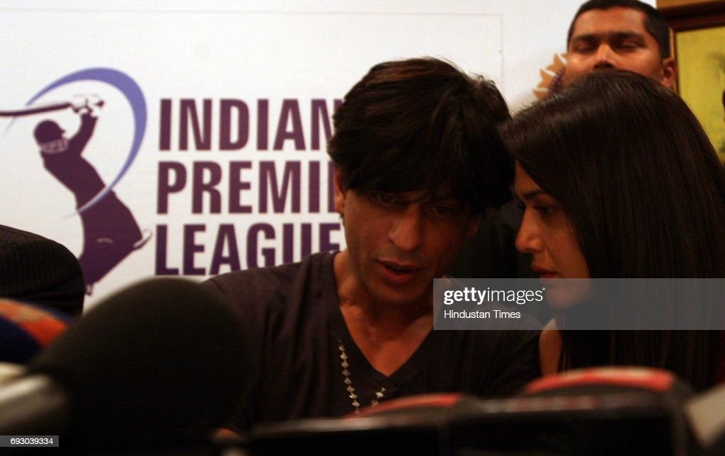 Player Auction Shah Rukh Khan and Priety Zinta during a media conference after the IPL Players` auction at Hilton Towers on Wednesday