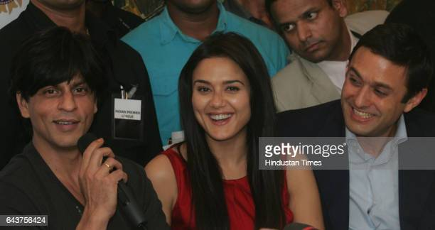 Player Auction Shahrukh Khan Preity Zinta and Ness Wadia during a media conference after the IPL Players auction at Hilton Towers on wednesday