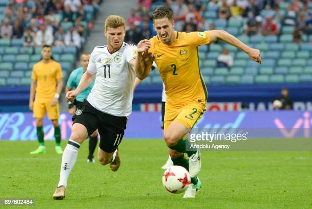player Australia Milos Degenek and player Germany Timo Werner while match the FIFA Confederations Cup 2017 group B soccer match between Australia and...
