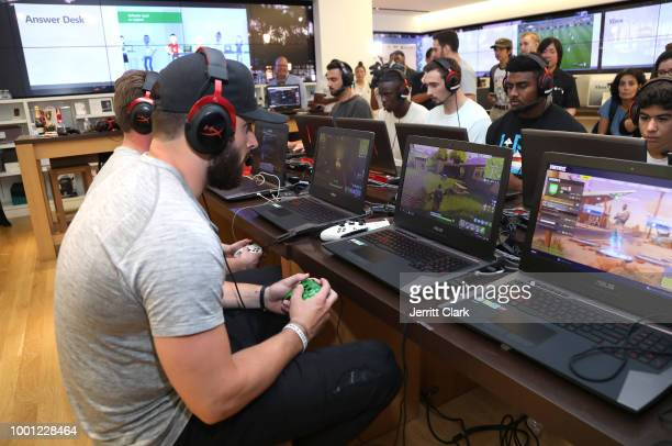 NFL player Baker Mayfield participates in the Microsoft Stores Pro Player Charity Fortnite Duos Tournament Presented By Kor Media Entertainment at...