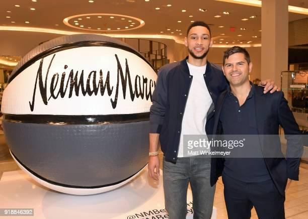 NBA player Ben Simmons and GQ Executive Stylist Brett Fahlgren attend Neiman Marcus x GQ All Star Weekend Event with Ben Simmons at Neiman Marcus on...