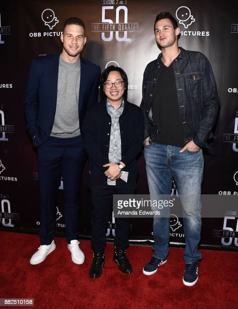 """Player Blake Griffin, actor Jimmy O. Yang and NBA player Danilo Gallinari arrive at the premiere of OBB Pictures and go90's """"The 5th Quarter"""" at..."""