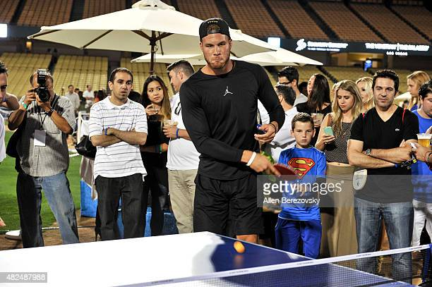 Player Blake Griffin participates in Clayton Kershaw's 3rd Annual PingPong4Purpose tournament at Dodger Stadium on July 30, 2015 in Los Angeles,...
