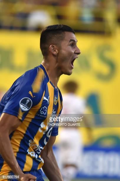 Player Blas Armoa of Paraguay's Sportivo Luqueno celebrates after scoring against Ecuador's Deportivo Cuenca during their Copa Sudamericana football...