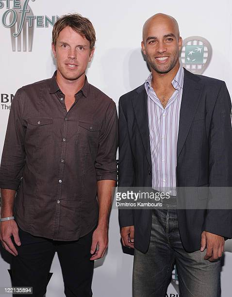 Player Brad Richards and Tennis Player James Blake attend the 12th Annual BNP Paribas Taste of Tennis at the W New York Hotel on August 25, 2011 in...