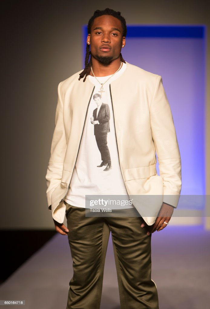NFL player Bradley Roby walks the runway in Alba at the Fashion Setters Gala at the Beverly Wilshire Four Seasons Hotel on March 8, 2017 in Beverly Hills, California.