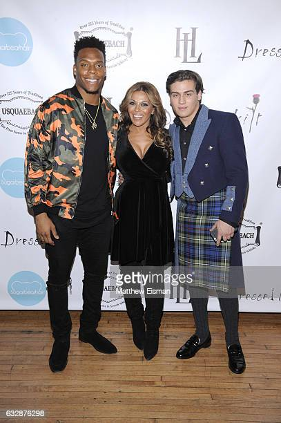 NFL player Brandon Marshall Dolores Catania of the Real Housewives NJ and Frank Catania attend Dressed To Kilt Ball Fashion Show presented by...
