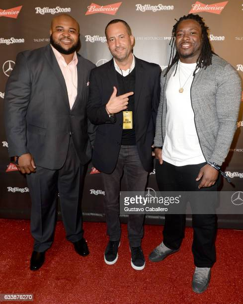 NFL player Brandon Williams Coowner Talent Resources Sports David Spencer and NFL player Eddie Lacy at the Rolling Stone Live Houston presented by...