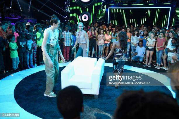 WNBA player Breanna Stewart World Cup skiier Lindsey Vonn and Olympic gymnast Gabby Douglas participate in the Beats N Seats competition during...