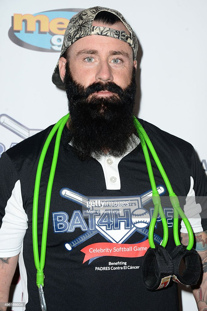MLB player Brian Wilson attends Adrian Gonzalez's Bat 4 Hope Celebrity Softball Game PADRES Contra El Cancer at Dodger Stadium on November 7, 2015 in Los Angeles, California.