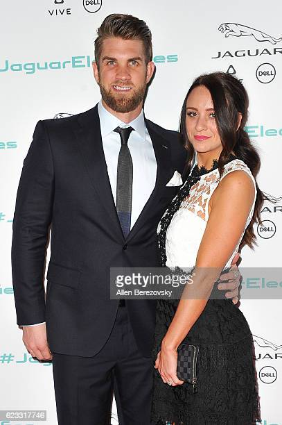 MLB player Bryce Harper and fiance Kayla Varner attend the Next Era Jaguar Vehicle Unveiling Event at Milk Studios on November 14 2016 in Los Angeles...
