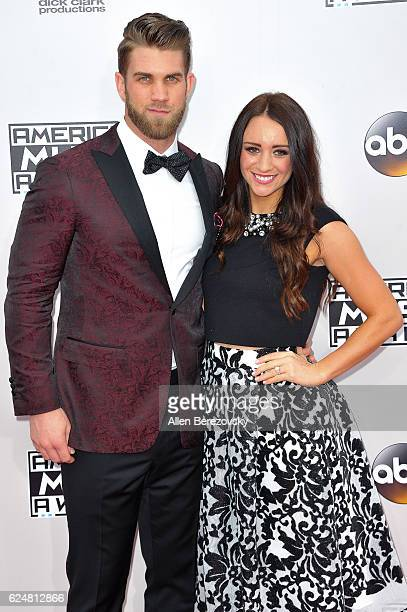 MLB player Bryce Harper and Kayla Varner arrive at the 2016 American Music Awards at Microsoft Theater on November 20 2016 in Los Angeles California