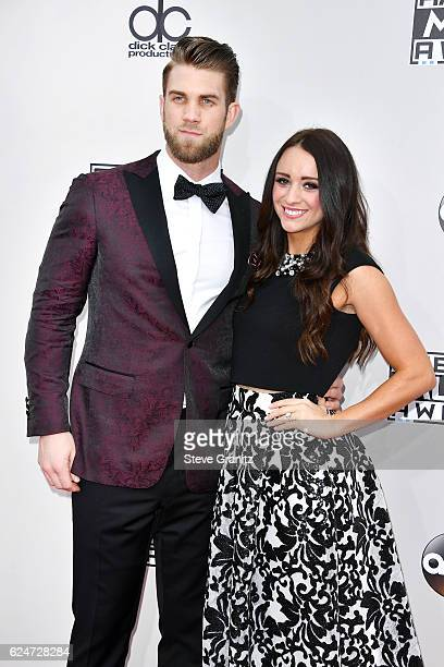 MLB player Bryce Harper and Kayla Varner attend the 2016 American Music Awards at Microsoft Theater on November 20 2016 in Los Angeles California