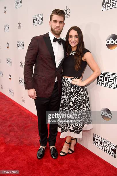 MLB player Bryce Harper and Kayla Varner attendthe 2016 American Music Awards at Microsoft Theater on November 20 2016 in Los Angeles California
