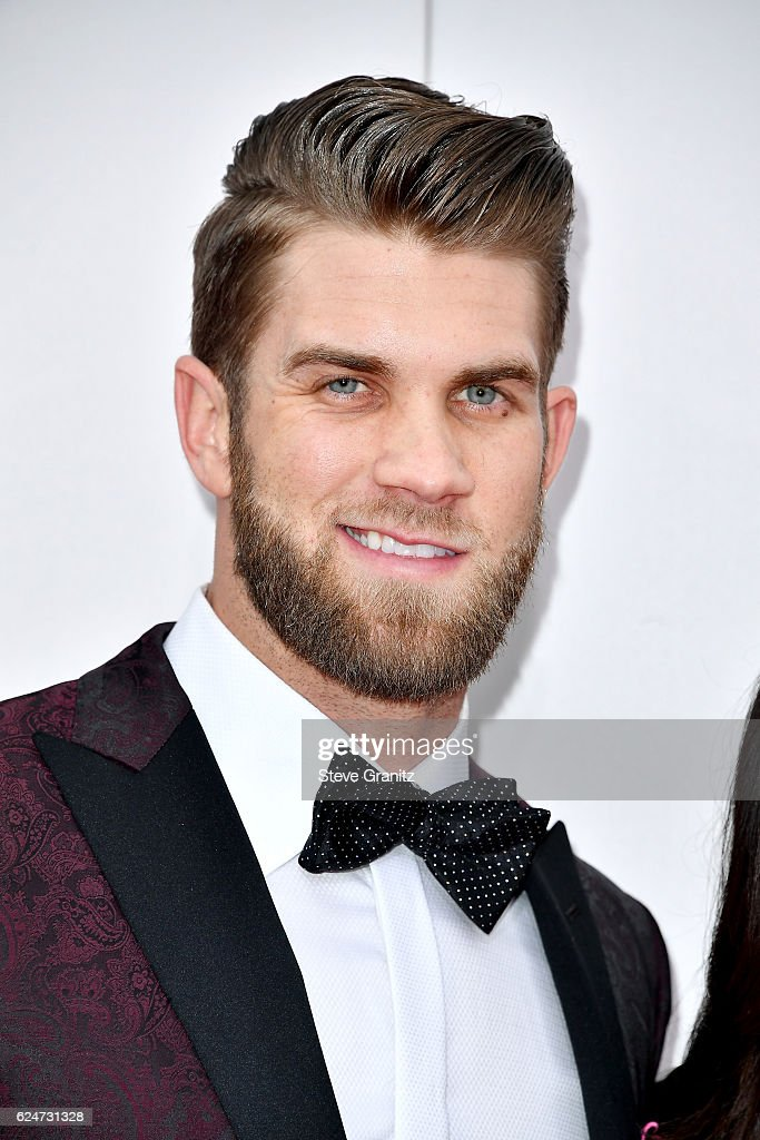 MLB player Bryce Harper attends the 2016 American Music Awards at Microsoft Theater on November 20, 2016 in Los Angeles, California.