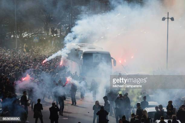 AIK player bus arrives ahead of the Allsvenskan match between AIK and BK Hacken at Friends arena on April 2 2017 in Solna Sweden